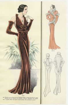 Illustration of sumptuous, burgundy velvet-look dress from 1930s, worn with long gloves. (+ rather fabulous wrap coat)