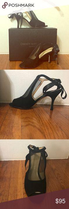 CARMEN MARC VALVO Shoe Styles: Clara                                               Color: Black                                                          Material: Suede                                                     Size: 8 Carmen Marc Valvo Shoes Heels