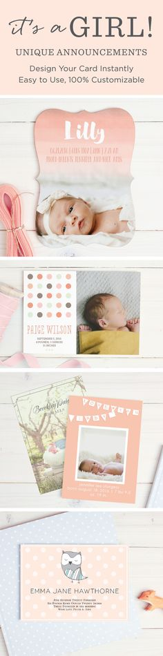 Add your photo, colors and text to make the perfect birth announcement for your baby girl.