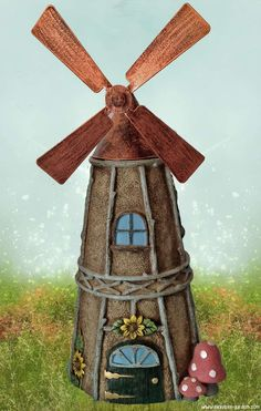 Windmill Fairy House at http://www.miniature-gardens.com/