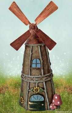 Windmill Fairy House at http://www.miniature-gardens.com/