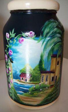 Decoupage jar Bottle Painting, Bottle Art, Decoupage Jars, The Joy Of Painting, Ball Mason Jars, Painted Jars, Altered Bottles, Painted Wine Glasses, Painting Lessons