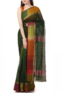 Green & Rainbow Border Cotton Silk Maheshwari Saree