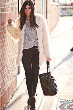 "StyleMint Ts, Shirts, Topshop Boots, Faux Fur Asos Coats, Alexander Wang Bags | ""White Christmas Fur"" by fashionchalet"