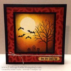 Unfrogetable Stamping | Fabulous Friday Holiday Catalog sneak peek Halloween card featuring the Spooky Fun stamp set and Seasonal Decorative Masks by Stampin' Up!