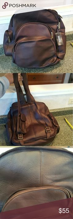 "NWT Brown Backpack Genuine leather backpack. Measures approximately 15"" tall x 12"" wide. Wilsons Leather Bags Backpacks"