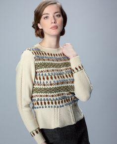 Land Girls Fairisle Sweater by Lucy Jones in Rowan Pure Wool 4 Ply (http://www.mcadirect.com/shop/rowan-pure-wool-ply-p-2242.html) and Fine Tweed (http://www.mcadirect.com/shop/rowan-fine-tweed-ply-25g-p-4018.html)