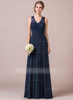 A-formet/Prinsesse V-hals Gulvlengde Chiffong Blonder Brudepikekjole (007056568)