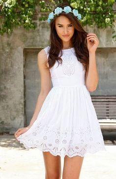 96e3f2a9696 style  . Cute White DressWhite Eyelet ...