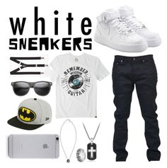 """""""Gender Fluid White Sneakers"""" by thezombieutube ❤ liked on Polyvore featuring Express, NIKE, Yves Saint Laurent, David Yurman, Goti, Life is good, Cherish Always, New Era and Native Union"""