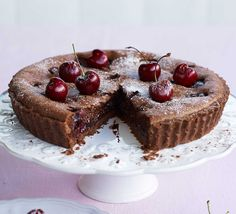 Black Forest tart: Sweet cocoa pastry is filled with a rich, fruity filling of chocolate and cherries in this heavenly German gateau-inspired dessert Tart Recipes, Sweet Recipes, Baking Recipes, Vegan Recipes, Chocolate Pastry, Chocolate Cherry, Vegan Chocolate, Chocolate Recipes, No Bake Desserts