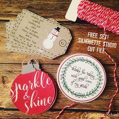 Set of Christmas Gift Tags: Free Silhouette Studio Cut File