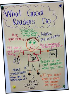 This is an anchor chart about what good readers do. The purpose of this is to remind students strategies of good readers. I would use this in my classroom because i love anchor charts and feel that students enjoy them as well as learn from them. Reading Lessons, Reading Strategies, Reading Skills, Teaching Reading, Comprehension Strategies, Guided Reading, 2nd Grade Reading Comprehension, Reading Goals, Reading Tips
