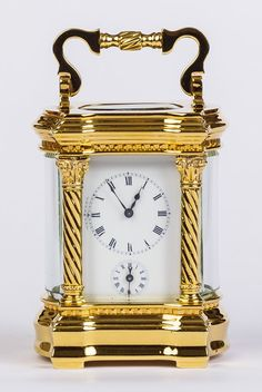 A wonderful addition to any mantlepiece, this fine miniature 8 day French carriage timepiece with alarm. Offered by Horological Workshops at The Edenbridge Galleries, Kent. www.edenbridgegalleries.com