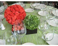 Centro de mesa redondo con rosas/ Centro de mesa para boda / Fiorelle