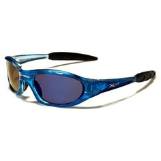 X-Loop Mens Plastic Wrap Around Stylish Sports Sunglasses Blue with Purple Glasses