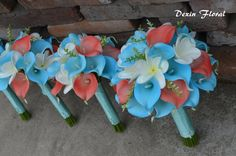 Wedding Bouquets Aqua Coral Calla Lilies Turquoise Silk bridal Bouquets