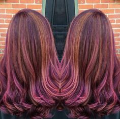 @jjhair34 created this gorgeous look with #KenraColor 3VR + 4VR (equal parts) + 20vol., highlights of 6C + 10vol., and accents of #KenraColorCreative Pink and Purple.