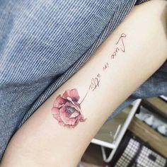 Poppy flower tattoo w/calligraphy