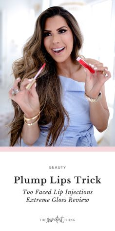 Review of the Too Faced Lip Injections Extreme Gloss. An easy trick for glossy and plump lips | Beauty | The Sweetest Thing Beauty Tips For Skin, Best Beauty Tips, Beauty Hacks, Best Skincare Products, Beauty Products, Lip Injection Extreme, The Sweetest Thing Blog, Plump Lips, Lip Tips
