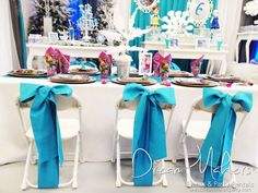Decorated chairs at a Frozen birthday party!  See more party planning ideas at CatchMyParty.com!