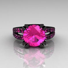 Modern Vintage 14K Black Gold 3.0 Carat Pink Sapphire Solitaire Ring R102-14KBGPS. $2,249.00, via Etsy.