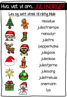 jul i Norge? Christmas Is Coming, Christmas Time, Norway, Homeschool, Teaching, Activities, Education, 2nd Grades, Poster