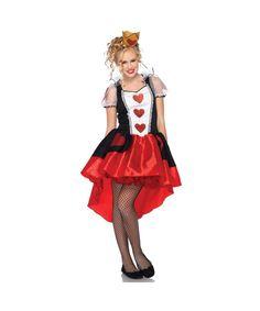 wonderland queen of hearts junior teen tween girls halloween costume brand new