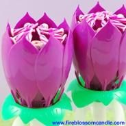 Ultraviolet - 2 Purple Fire Blossoms  www.fireblossomcandle.com  A unique cake candle for your birthday party