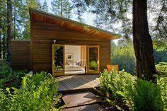 simple shapes. great natural landscape. open onto good decks. modern.