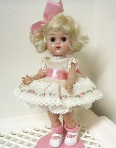 Vintage Late 1950s BKW Vogue Ginny Doll in 1962 Organdy Rosebuds Outfit 18341