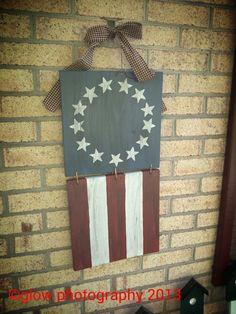 Primitive flag from scrap wood