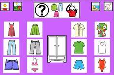 Informática para Educación Especial: Tableros de comunicación de 12 casillas: prendas de vestir.
