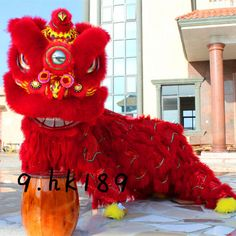 Chinese Folk art Red Lion Dance mascot Costume wool Southern Lion For two adults