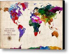 World Map Canvas Print / Canvas Art By Gary Grayson