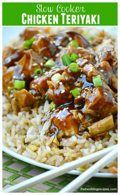 This Slow Cooker Chicken Teriyaki is delicious with a homemade thicker glaze that you can drizzle over the chicken right before you serve it to your family! Sautee onion and garlic first* Crockpot Dishes, Crock Pot Slow Cooker, Crock Pot Cooking, Slow Cooker Chicken, Slow Cooker Recipes, Cooking Recipes, Crockpot Meals, Asian Recipes, New Recipes
