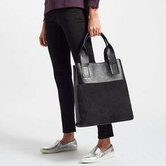 47ddcbb5b0c8 Kin Sara Leather Colourblock Tote Bag