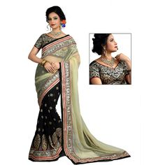 Designer Nirvana Beige & Dark Green Embroidery Mono Due Drop net Saree with Blouse at just Rs.2099/- on www.vendorvilla.com. Cash on Delivery, Easy Returns, Lowest Price.