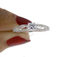 1.00CT.T.W Diamond Round Cut Sterling Silver Infinity Engagement Wedding Ring #br925silverczjewelry #Infinity
