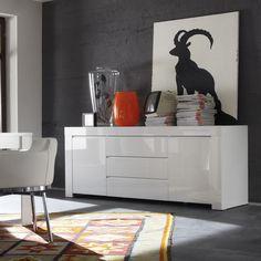 bahut blanc laqu design tory 2 buffet haut buffet design laque blanche dining - Buffet Salon Blanc Laque