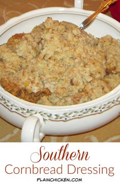 Southern Cornbread Dressing - My Mom's recipe for THE BEST dressing! SO easy. Homemade cornbread, white bread, celery, onion, cream of chicken, cream of mushroom, chicken stock, salt, pepper and sage. Bake along with bone-in turkey. I could just eat this for Thanksgiving and be happy!