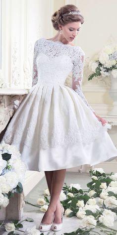 Gorgeous Tea Length Wedding Dresses ❤ See more: http://www.weddingforward.com/tea-length-wedding-dresses/ #weddings #vestidodenovia   #trajesdenovio   vestidos de novia para gorditas   vestidos de novia cortos http://amzn.to/29aGZWo