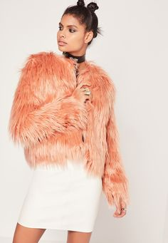 Missguided - Shaggy Faux Fur Coat Pink