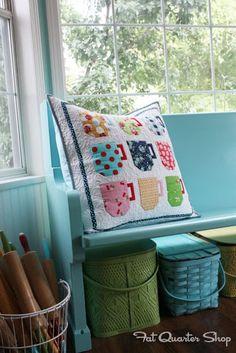 A cute cushion from Lori Holt's Quilty Fun.