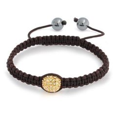 Bling Jewelry Gold Crystal Bead Brown Shamballa Inspired Bracelet Hematite Ball