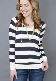 Splendid Striped Drapey Lux Hoodie