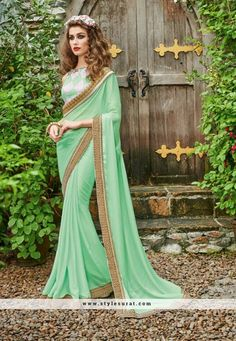 Peppy Pista Green Color Georgette Fabric Party Wear Saree