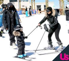 Exclusive: Watch Kim Kardashian and Kanye West teach little North West how to ski Kim Kardashian And Kanye, Snowboarding Outfit, Celebrity Kids, Kris Jenner, Black Tights, Winter Sports, Reality Tv, Kanye West, North West