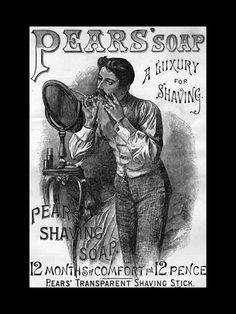 This Pears Shaving Soap ad artwork is printed to order on heavy weight gloss photo paper, inserted in a 100% archival safe, acid-free clear