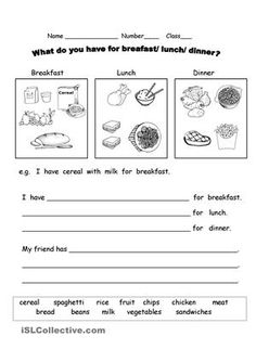 Breakfast For Dinner Quotes Lunches 41 Ideas Preschool Worksheets, Printable Worksheets, Printables, Dinner Quotes, Breakfast Quotes, English Exercises, Breakfast Lunch Dinner, Eat Breakfast, English Activities